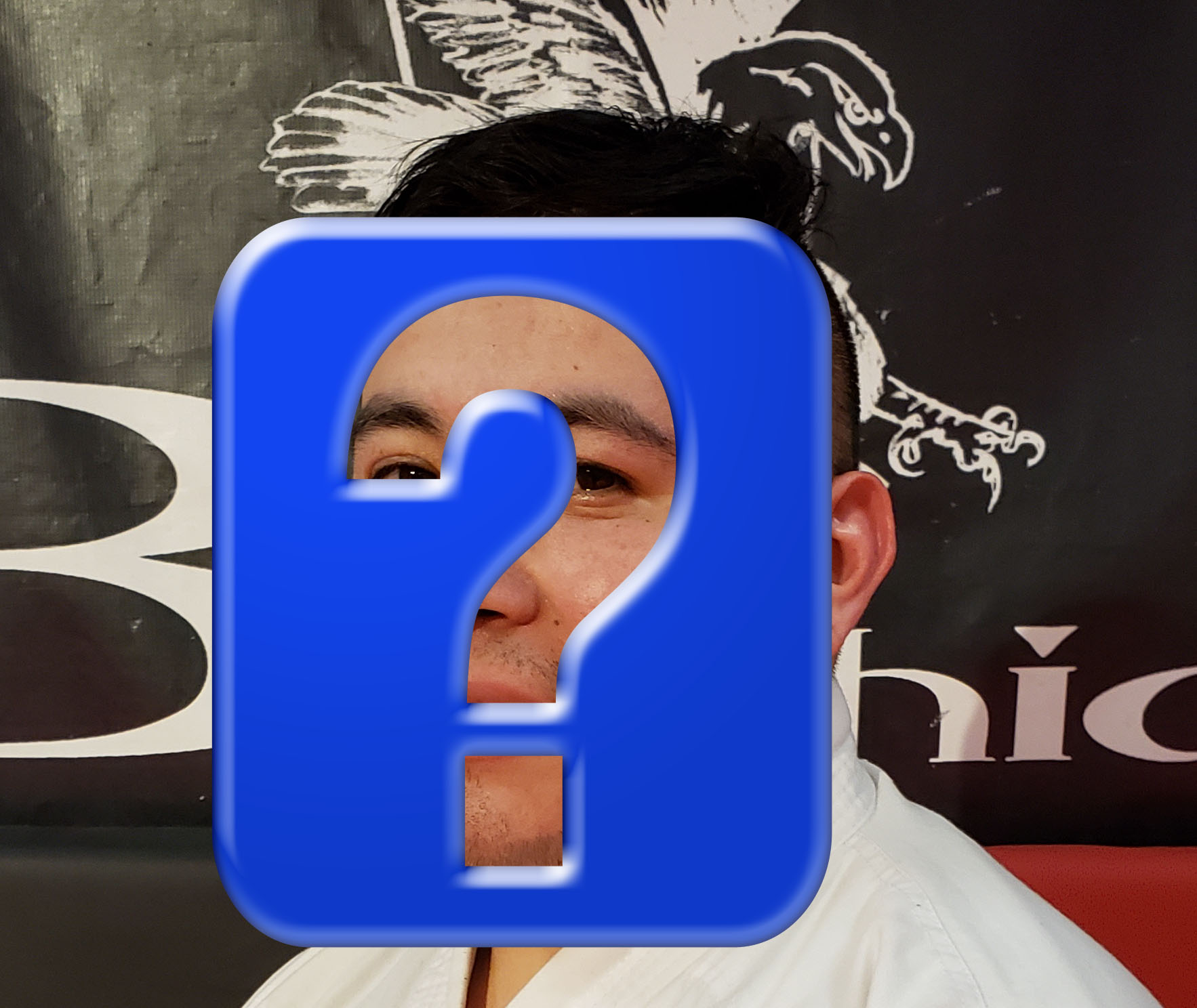 adult martial artist behind question mark